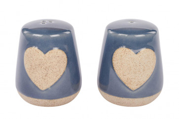 Grey Heart Ceramic Salt and Pepper Shakers ~ Beautiful Cruet Set