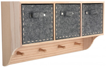 Felt Drawers Wooden Storage Unit Wall Cabinet Hanger - Wood Coat Hook Pegs