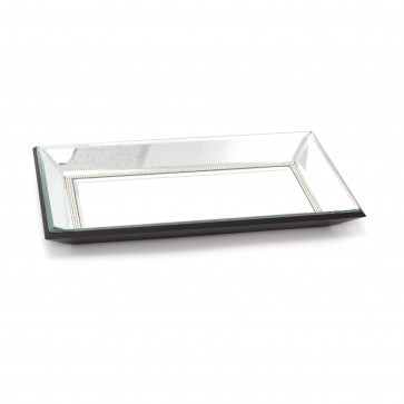 Diamante Bevelled Glass Mirror Trinket Candle Tray Plate