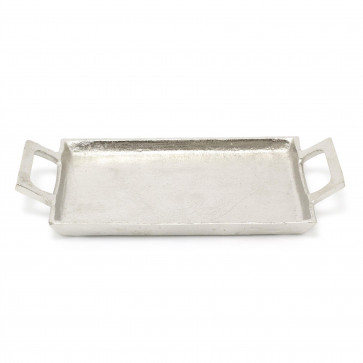 Beautiful Silver Metal Display Tray With Handles | 28cm Perfume Jewellery Dish | Decorative Serving Tray