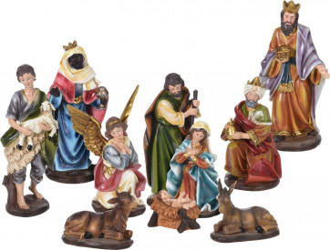 Large Traditional Deluxe Christmas Nativity Set Scene With 10 Detailed Figures