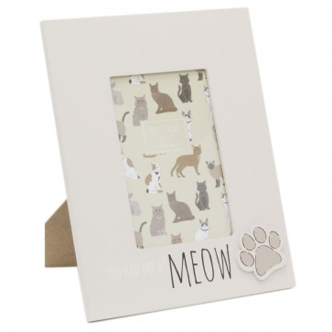 4 x 6 Photo Picture Frame For Cat Lovers | Pet Photo Frame With Quote | Paw Print Kitten Cat Frame - You Had Me At Meow