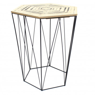 Hexagon Wooden Top Geometric Wire Occasional Side Table With Lid