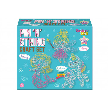 Children's 3 In 1 Pin And String Hobby Art And Crafts Set ~ Unicorn Fairy Mermaid