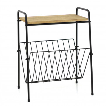 Wooden Top Magazine Rack Side Table   Living Room Side Tables Book Storage   Wire End Table Newspaper Rack