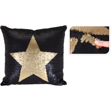 Black and Gold Star Reversible Sequin Design Fabric Square Shaped Pillow Cushion
