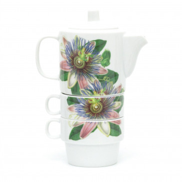 Botanical Stacking Tea For Two Set   Ceramic Nesting Teapot And Cups   Stackable Tea Pot And Cup Set - Design Varies One Supplied