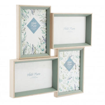Olive Grove 4 Multi Aperture Photo Frame 6x4 | Wall Mounted Wooden 4x6 Picture Frame | Photo Collage Display Family Frames