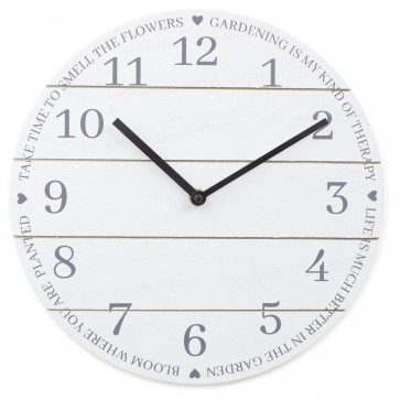30cm Potting Shed Gardening Round Clock - Wooden Wall Mounted Analogue Clock - White