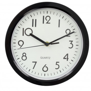 Classic Round Analogue Wall Clock | 22cm Clock Easy to Read,  Wall Mounted Home Office Clock - Black