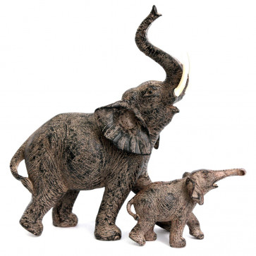 Resin Elephant And Baby Calf Animal Ornament Statues ~ Lovely Wild Life Decoration