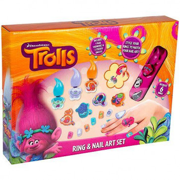 DreamWorks Trolls Ring And Nail Art Set Set - with Children's Nail Varnish, Nail Stickers, Rings and Earrings