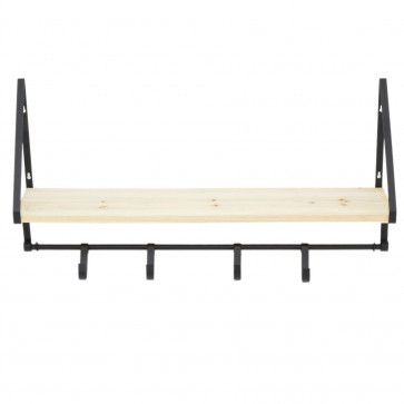 75cm Wall Mounted Wooden Display Shelf With Hooks | Industrial Black Metal Storage Shelves | Kitchen Spice Rack