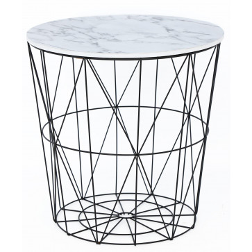 Contemporary Black Metal Side Table With Marble Effect Top