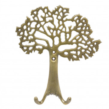 Stunning Antique Gold Effect Tree Of Life Wall Hook   Wall Mounted Coat Hanger Pegs   Decorative Gold Metal Wall Door Hooks