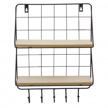 Rectangle Wall Double Shelf Unit With Hooks | 2 Tier Wooden Black Metal Floating Shelves | Kitchen Spice Rack