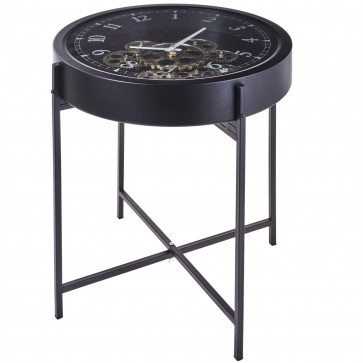 Black Metal Occasional Side Table With Clock | Bedside Table Nightstand | Industrial Furniture Gears Clock End Table 42cm