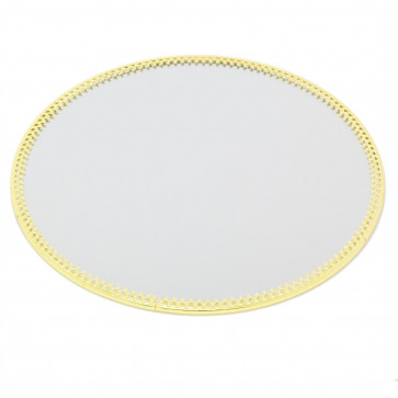 20cm Decorative Mirror Glass Display Plate   Gold Mirrored Candle Tray   Centerpiece Vanity Perfume Tray - Round