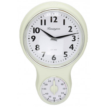 Kensington Traditional Retro Kitchen Hanging Wall Clock With Timer - Cream