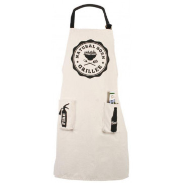Cotton Barbeque Apron With Bag ~ Bbq Apron Natural Born Griller