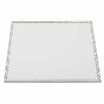 20cm Decorative Mirror Glass Display Plate   Silver Mirrored Candle Tray   Centerpiece Vanity Perfume Tray - Square