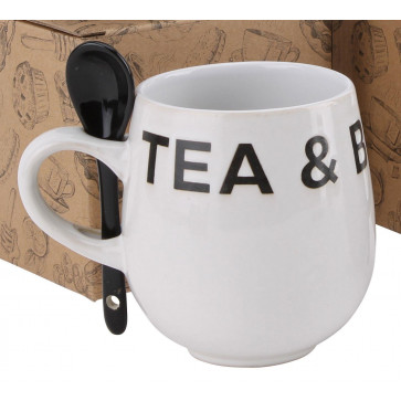 Contemporary Housewares Stoneware Tea And Biscuit Mug Set With Stirring Spoon ~ White