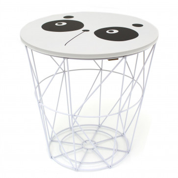 3 in 1 Children's Bedside Table Wire Storage Basket Stool - Fun Animal Design Kids Toy Box Chair Console Table ~ Panda