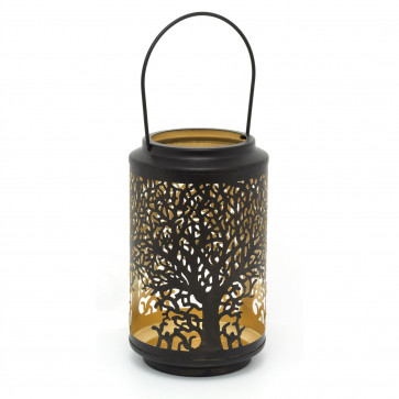 25cm Black Metal Tree Of Life Cut Out Cylinder Lantern   Decorative Candle Holders For Home Garden Patio   Hurricane Lantern