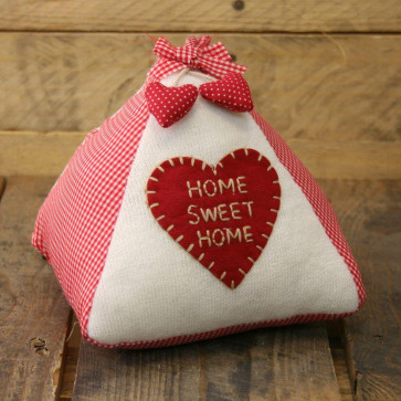 Home Sweet Home Triangle Doorstop - Knitted And Red Check Fabric Door Stop