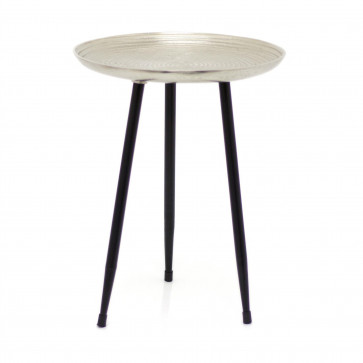 Contemporary Round Silver Side Table | Occasional Pedestal Table Bedside Tables | Living Room End Tables
