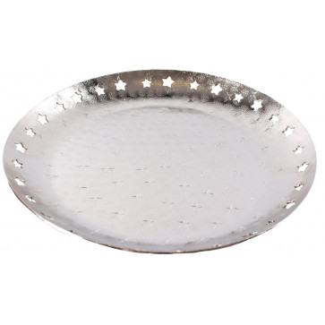 Aluminium Embossed Hammered Star Tealight Candle Plate 33cm