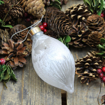 Battery Operated Light Up Frosted White LED Ornament Hanging Christmas Tree Bauble Decoration ~ Teardrop