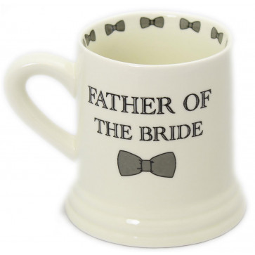 Boxed Ceramic Bow Tie Wedding Favour Gift Mug ~ Father Of The Bride