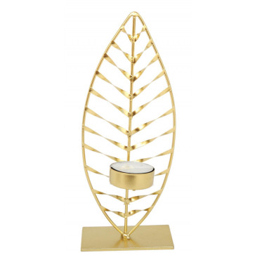 Beautiful Gold Finish Leaf Shaped Palm Silhouette Tealight Candle Holder