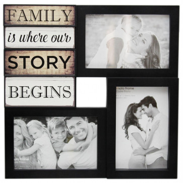 Wall Hanging Black Plastic Multi Collage Quote Picture Photo Frame ~ Family