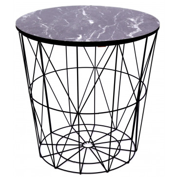Geometric Wire Metal Occasional Side Table With Marble Effect Top ~ Storage Table With Lid - Black