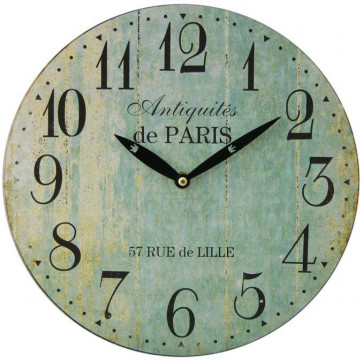 28cm Duck Egg Blue French Antique Style Wall Clock | Antiquities De Paris Round Vintage Style Clock | Shabby Chic Wall Clock