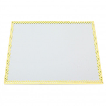 20cm Decorative Mirror Glass Display Plate | Gold Mirrored Candle Tray | Centerpiece Vanity Perfume Tray - Square