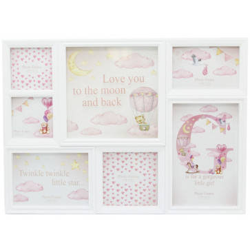 6 Aperture Printed Glass Baby Hanging Multi Photo Picture Frame - Baby Girl Pink
