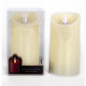 Battery Operated Flickering Ivory Candle 14Cm