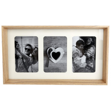 Natural Wooden Box Style Triple Multi Photo Montage Collage Hanging Photo Frame With Mount