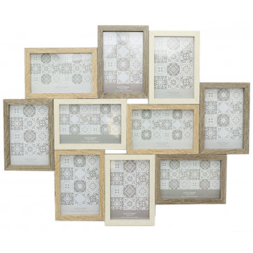 Large 10 Aperture Multi Tonal Photo Frame 6x4 | Wall Mounted Wooden Effect 4x6 Picture Frame | Photo Collage Display Family Frames