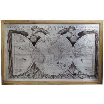 Wooden Frame 17th Century Vintage Antique Ancient World Map Wall Art Picture 100cm x 64cm
