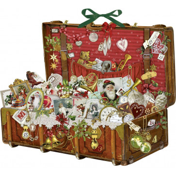 Deluxe Traditional Card Advent Calendar Large - Nostalgic Christmas Suitcase
