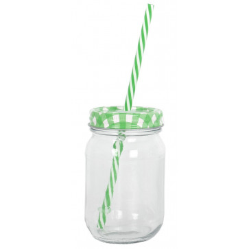 Clear Glass Drinking Jar With Coloured Lid And Straw ~ Purple Lid