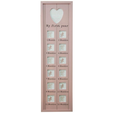 76 X 22 Dusky My First Year Photo Frame ~ Pink
