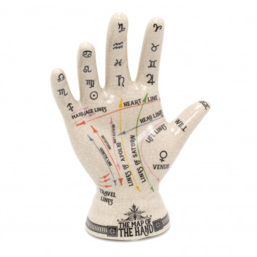 Ceramic Palmistry Hand Ornament | Map Of The Hand Sculpture | Hand Figurine Palm Reading Statue