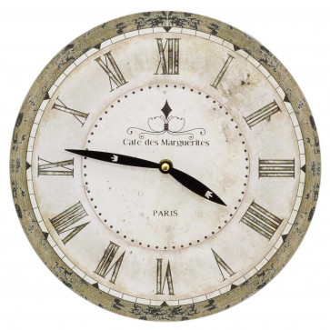 28cm French Antique Style Wall Clock - Cafe De Marguerites   Paris Round Vintage Style Clock   Shabby Chic Wall Clock