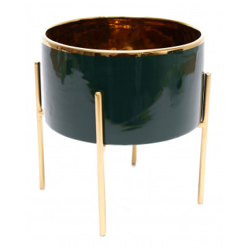 Gold Lined Ceramic Cache Plant Pot Planter With Stand ~ Green