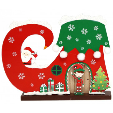 Christmas Elf Boot House Wooden Freestanding Xmas Decoration ~ Presents